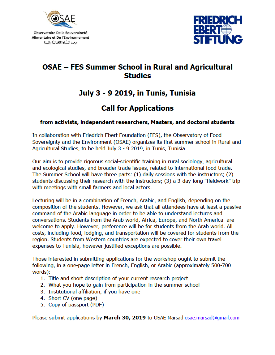 OSAE – FES Summer School in Rural and Agricultural Studies, July 3